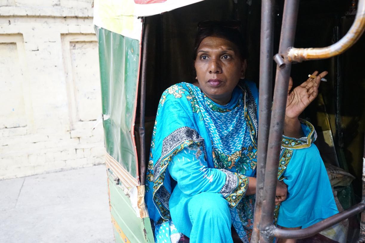 Pakistani trans woman in rickshaw